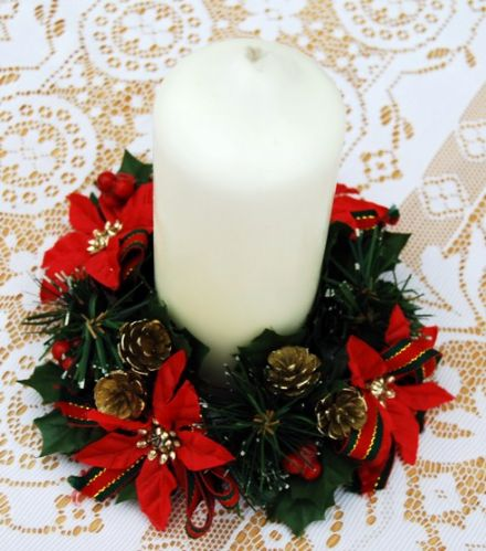 "Poinsetta & Pine Cone 2.5"" Candle Ring"